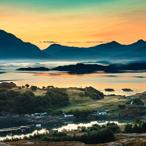 Sunrise over Upper Loch Torridon from Applecross, Wester Ross, Scotland. AP005