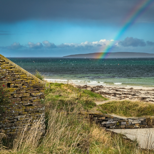 Rainbow over Eynhallow Sound from Evie, Mainland, Orkney Islands. OR022