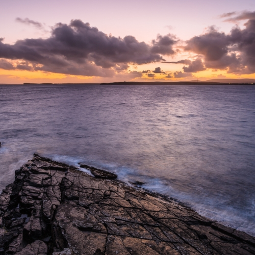 Dusk view across Hoxa Sound from South Ronaldsay, Orkney Islands. OR027