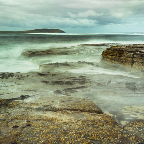 The sea breaking on rocks at Mid Howe, Rousay, Orkney Islands OR028