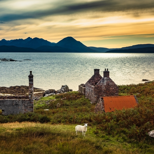 Abandoned croft houses at Coille Ghillidh, Applecross, Scotland. AP025