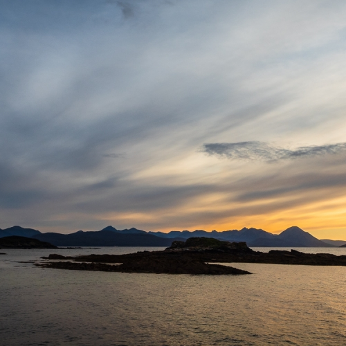 The Cuillin of Skye from Coille Ghillidh, Applecross, Scotland. AP026