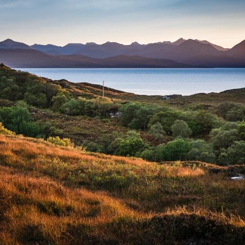 Scalpay and the Cuillins of Skye from near Ardban, Applecross, Scotland. AP028