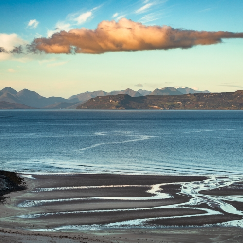 Morning light on Raasay and the Cuillins of Skye from Sand, Applecross, Scotland. AP012
