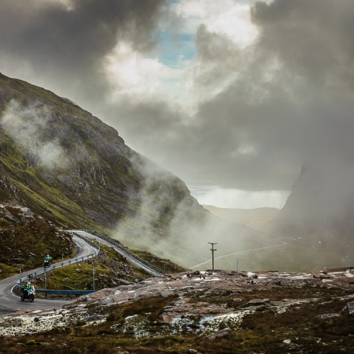 Motorcyclists ascending the Bealach na Ba (Pass of the Cattle) into Applecross, Scotland. AP015