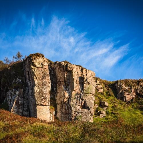 Rocky cliffs above Sand beach, Applecross, Scotland. AP016