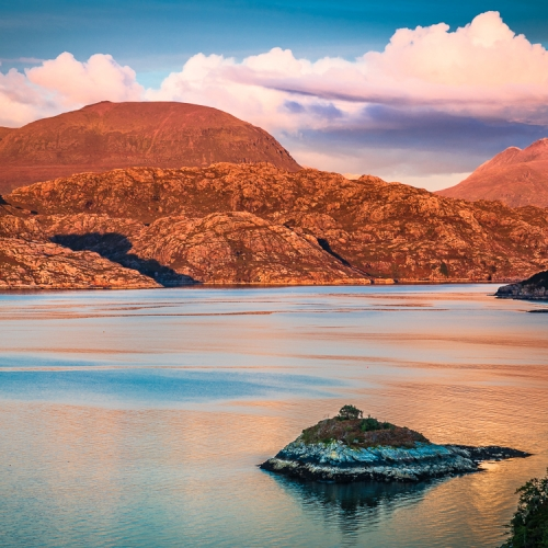 Beinn Alligin and Liathach from Kenmore, Applecross, Scotland. AP017